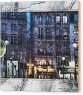 Green Pipes Of Pompidou Center Paris Wood Print