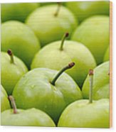 Green Plums Wood Print