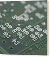 Green Printed Circuit Board Closeup Wood Print