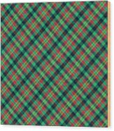 Green Red And Black Diagonal Plaid Textile Background Wood Print