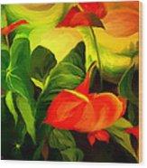 Green Red Wood Print