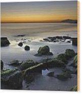 Green Rocks At Sunset Wood Print