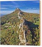 Green Scenery Of Kalnik Mountain Ridge Wood Print