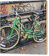 Green Schwinn Bike  Nyc Wood Print
