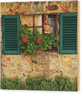 Green Shutters And Window In Chianti Wood Print