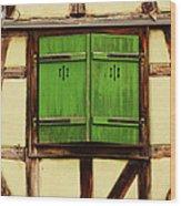 Green Shutters In Colmar France Wood Print