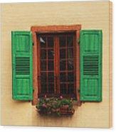 Green Shutters In Niedermorschwihr France Wood Print
