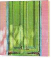 Green Shutters Pink Stucco Wall 2 Wood Print