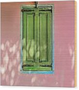Green Shutters Pink Stucco Wall Wood Print