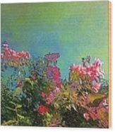 Green Sky With Pink Bougainvillea - Square Wood Print