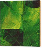 Green Square Abstract Wood Print