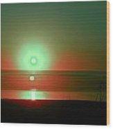 Green Sunset Wood Print