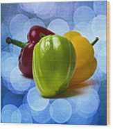 Green Sweet Pepper - Square - Textured Wood Print