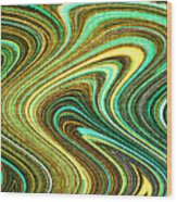 Green Swirls Mind Bend Wood Print