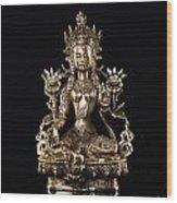 Green Tara Buddhist Goddess Statue Wood Print