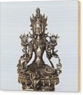 Green Tara Goddess Statue Wood Print