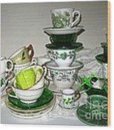 Green Teacups  Wood Print