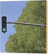 Green Traffic Light By Trees Wood Print