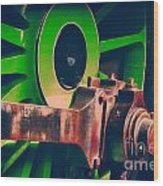 Green Train Wheel Wood Print