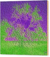 Green Tree And Purple Sky Wood Print