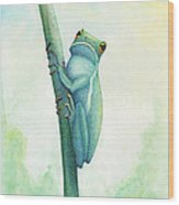 Green Tree Frog Wood Print by Wayne Hardee