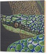 Green Tree Snake Wood Print