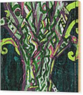 Green Tree With Pink Watercolor Wood Print
