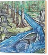 Green Trees With Rocks And River Wood Print