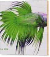 Green Tropical Fish Wood Print