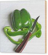 Green Veggie Munchie Wood Print