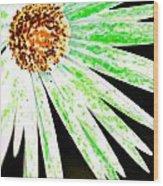 Green Vexel Flower Wood Print