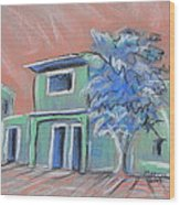 Green Village Wood Print by Marcia Meade