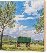 Green Wagon And Vineyard Wood Print