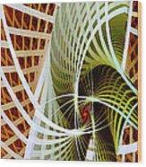 Green Weave Wood Print