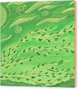 Green Wind Wood Print