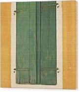 Green Window Shutters Wood Print
