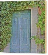 Green Wood Door Of Tuscany Wood Print