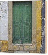 Green Wood Door With Hand Carved Stone Against A Texured Wall In The Medieval Village Of Obidos Wood Print by David Letts