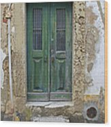 Green Wood Door With Hand Carved Stone In The Medieval Village Of Obidos Wood Print
