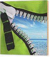 Green Zipper Wood Print