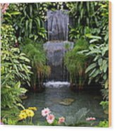 Greenhouse Garden Waterfall Wood Print