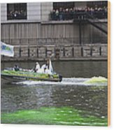 Greening The Chicago River For St Patrick's Day Wood Print