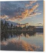 Greenlake Autumn Sunset Wood Print