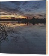 Greenlake Sunset With A Fallen Tree Wood Print