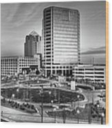 Greensboro Center City Park Bw Wood Print