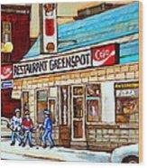 Greenspot Restaurant Notre Dame Street  South West Montreal Paintings Winter Hockey Scenes St. Henri Wood Print