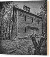 Greer Mill Black And White Wood Print