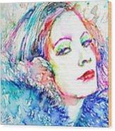 Greta Garbo - Colored Pens Portrait Wood Print