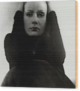 Greta Garbo Wearing A Black Dress Wood Print