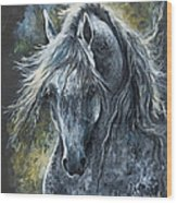 Grey Arabian Horse Oil Painting 2 Wood Print